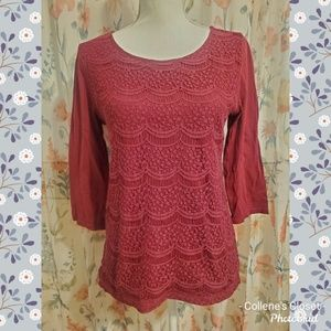 LOFT Red Burgundy Medium Lace Top